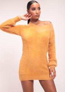 Fluffy Plunge V Neck Jumper Dress Brown