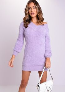 Fluffy Plunge V Neck Jumper Dress Pink