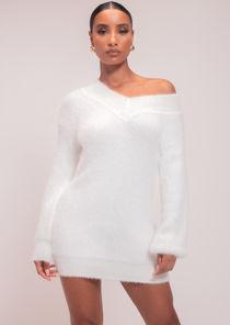 Fluffy Plunge V Neck Jumper Dress White