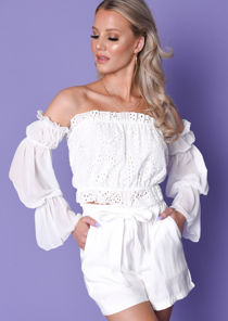 Frill Bardot Broderie Anglaise Crop Top White