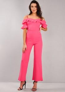 Frill Detail Bardot Jumpsuit Fuchsia Pink
