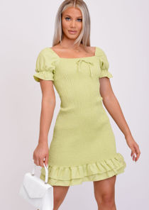 Frill Shirred Puff Sleeve Bodycon Dress Green