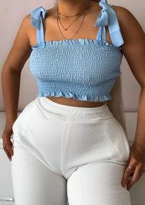 Frill Shirred Tie Up Crop Top Blue