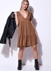 Frill Tiered Mini Shirt Dress Brown
