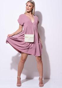 Frill Tiered Mini Shirt Dress Pink