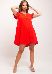 Frill Tiered Smock Dress Red