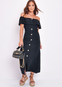 Frilled Bardot Button Through A Line Maxi Dress Black