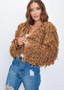 Fringe Textured Macrame Wool Jacket Brown