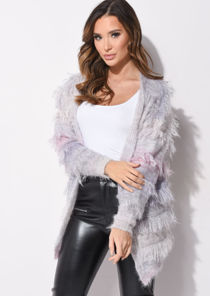 Fringed Mohair Fluffy Longline Cardigan Multi