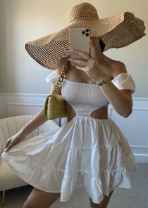Puff Sleeve Shirred Top Side Cut Out Mini Dress White