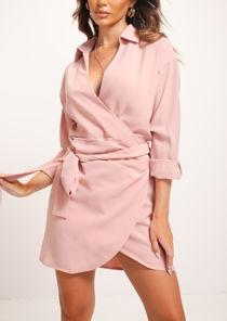 Wrap Over Collared Shirt Dress Pink