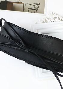 Front Tie Pu Stitched Waist Belt Black