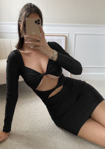 Front Twisted Cut Out Long Sleeve Ruched Mini Dress Black