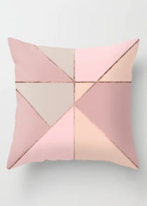 Geometric Print Square Cushion Cover Pink