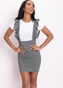 Gingham Frill Mini Pinafore Dress Black