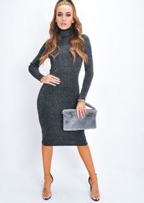Glitter Lurex Ribbed Turtleneck Midi Dress Black