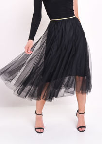 Gold Detail Tulle Mesh Midi Skirt Black