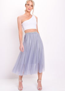 Gold Detail Tulle Mesh Midi Skirt Blue