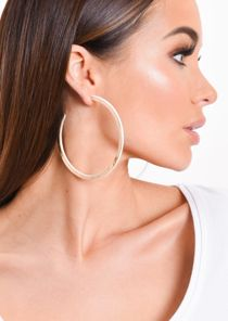 Large Gold Panel Hoop Earrings White