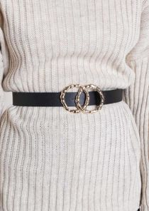 Hammered Circle Buckle Faux Leather Belt Black