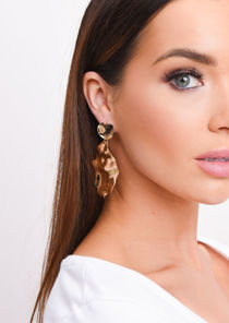 Hammered Circle Drop Earrings Gold