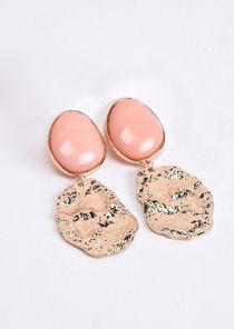 Hammered Gold Drop Earrings Coral Orange