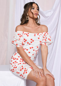 Heart Print Ruched Puff Sleeve Mini Dress White
