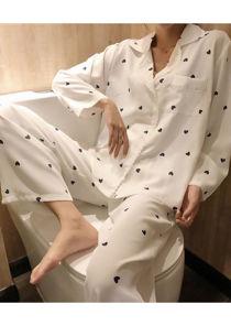 Heart printed Pyjama Nightwear Set White