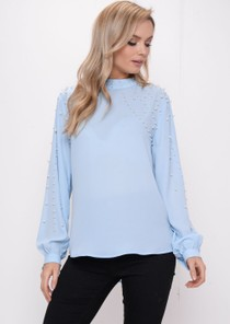 High Neck Pearl Embellished Long Sleeve Blouse Top Blue