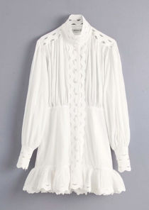 High Neck Puff Sleeved Layered Hem Shirt Dress White