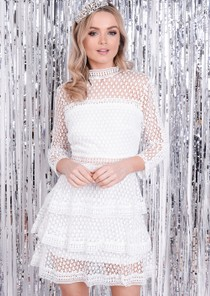 High Neck Ruffle Tiered Lace Mini Skater Dress White