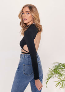 High Neck Tie Back Cropped T Shirt Top Black