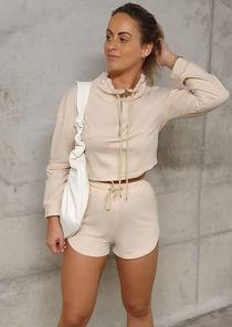 High Neck Zipped Sweatshirt Shorts Co ord Set Beige