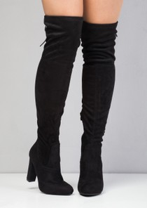 High Over The Knee Tie Back Faux Suede Boots Black
