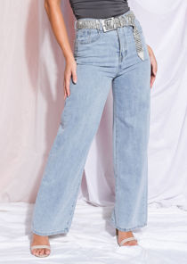 High Rise Wide Leg Denim Jeans Light Blue