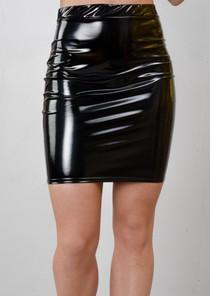 High Shine Vinyl Mini Skirt Black
