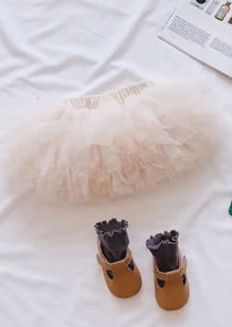 High Waist Elasticated Ruffle Tulle Skirt Beige