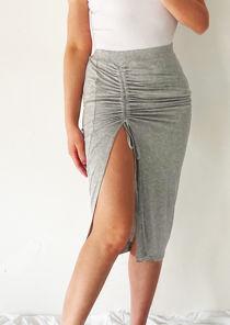 High Waist Elasticated Side Split Ruched Drawstring Midi Skirt Grey