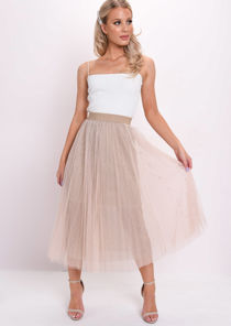 High Waisted Beaded Pleated Tulle Midaxi Skirt Beige