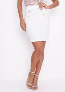 High Waisted Button Detail Mini Bodycon Skirt White
