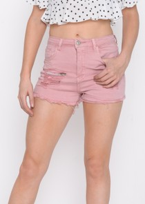 High Waisted Distressed Denim Shorts Pink