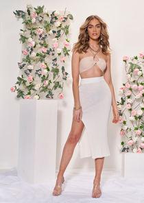 Knitted High Waisted Elasticated Front Split Ribbed Midi Skirt White