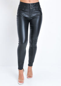 Three Buttons Zip Detail High Waisted Faux Leather Skinny Jeans Black