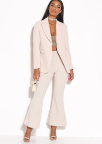 High Waisted Flared Leg Trousers Beige