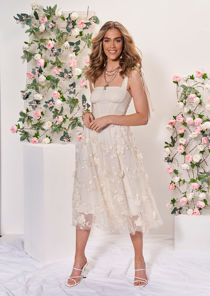 High Waisted Floral Embroidered Mesh Tulle Midi Skirt Beige