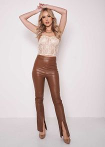 Pu High Waisted Front Split Flared Fitted Trousers Brown