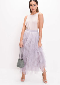 High Waisted Layered Tulle Midi Skirt Grey
