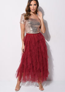 High Waisted Layered Tulle Ruffle Midi Skirt Burgundy Red