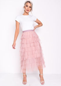 High Waisted Layered Tulle Ruffle Skirt Pink