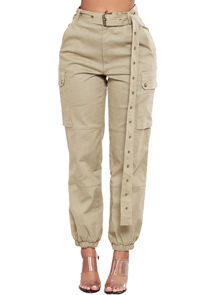 High Waisted Long Belt Utility Cargo Fitted Joggers Trousers Beige